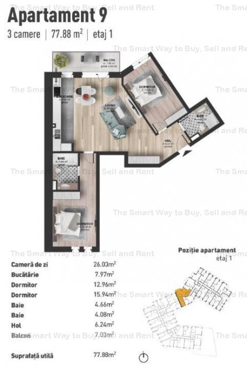 Apartament 3 camere NOU Marasti