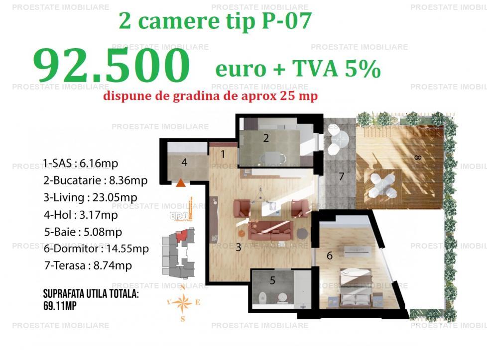 Apartament 2 camere cu gradina | Baneasa Sisesti - comision 0%