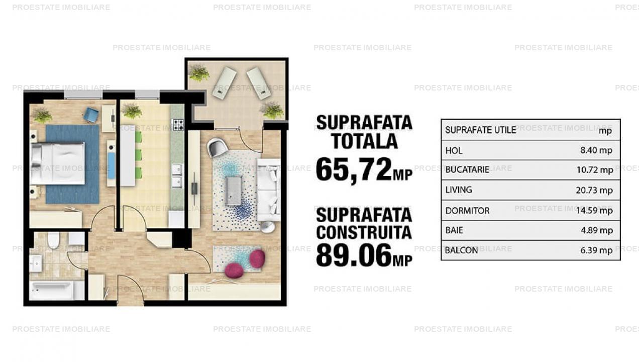 Apartament 2 camere Novum Invest, mobilat utilat