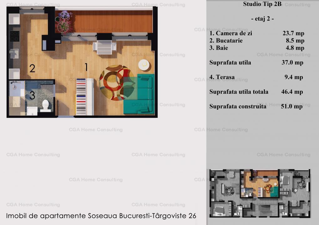 Studio de 51 MPC, ROOA RESIDENCE- STRAULESTI, COMISION 0%