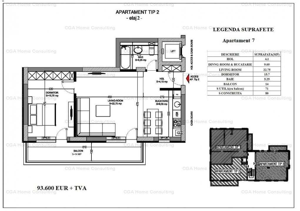 Apartament 3 camere de vanzare, 124 MPC, KEY Residence, Pipera, 1 loc de parcare