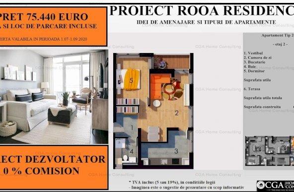 Apartament 2 camere 64 MPC, 1 loc parcare inclus in pret,zona Straulesti