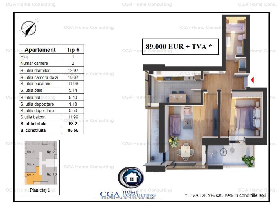 Apartament 2 camere,56 mp utili,terase 12 mp, Cocept Residence Pipera,OMV Pipera