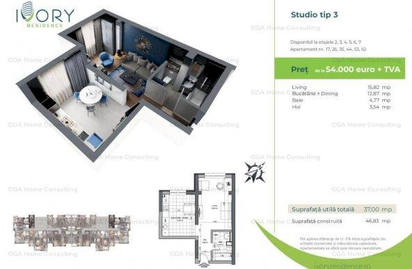 Studio 37mp decomandat in Ivory Residence Pipera!