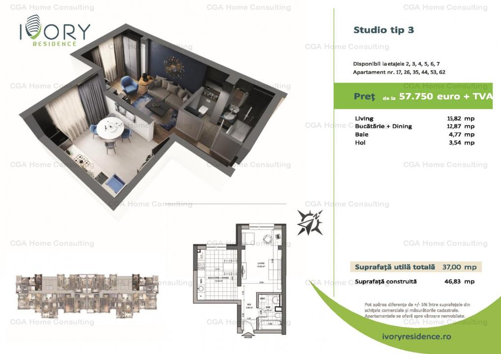 Studio 37mp decomandat in Ivory Residence Pipera!