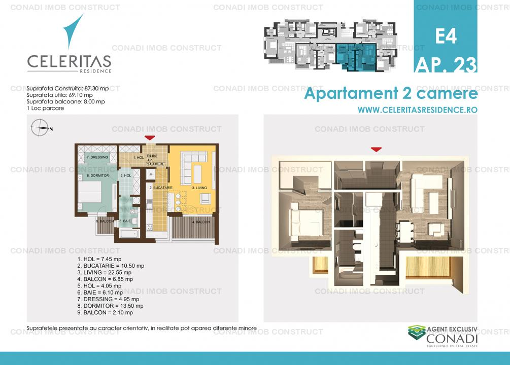 CELERITAS RESIDENCE apartament 2 camere ultracentral - imobil nou
