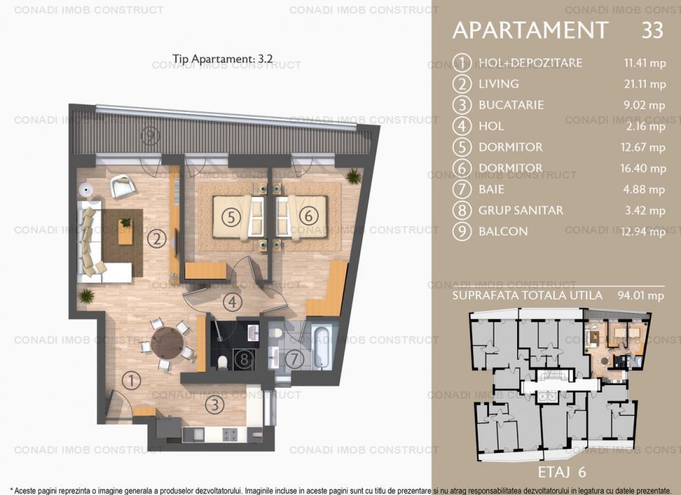 Apartament cu 3 camere in imobil cochet si modern in zona Dacia tip 3.2 nr. 6.2