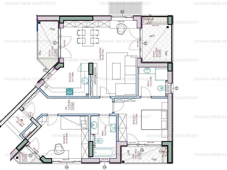 Apartament cu 3 camere si terasa Zona 1 Mai - Piata Chibrit