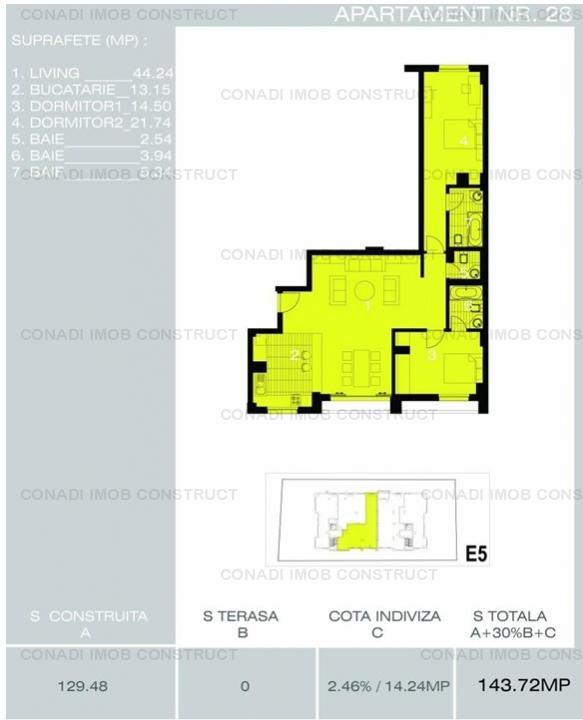 Herastrau - Satul Francez: apartament 3 camere de vanzare Ap 28