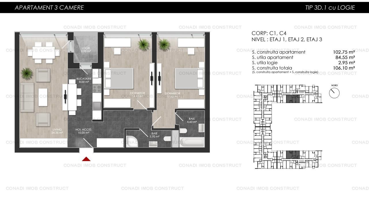 Apartament cu 3 camere intr-un complex rezidential modern zona Colosseum Chitila Tip 3.D.1