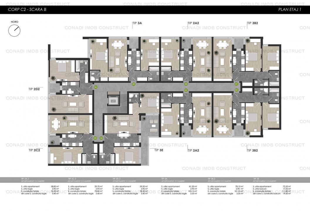 Apartament cu 2 camere in complex rezidential modern zona Colosseum Chitila Tip 2.A.1