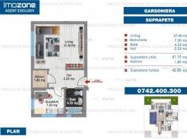 Garsonieră spațioasă, 41 mp utili, balcon, BLOC NOU, FINISAT MODERN, COMISION 0%