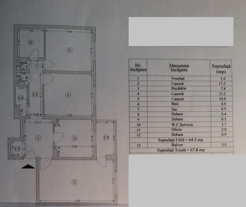 Apartament cu 3 camere in zoan Moinesti