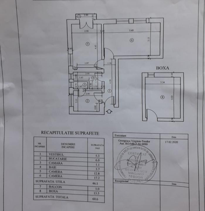 Apartament 2 camere decomandate, la etajul 1, in bloc D+P+2, plus 84 mp teren (curte si gradina)