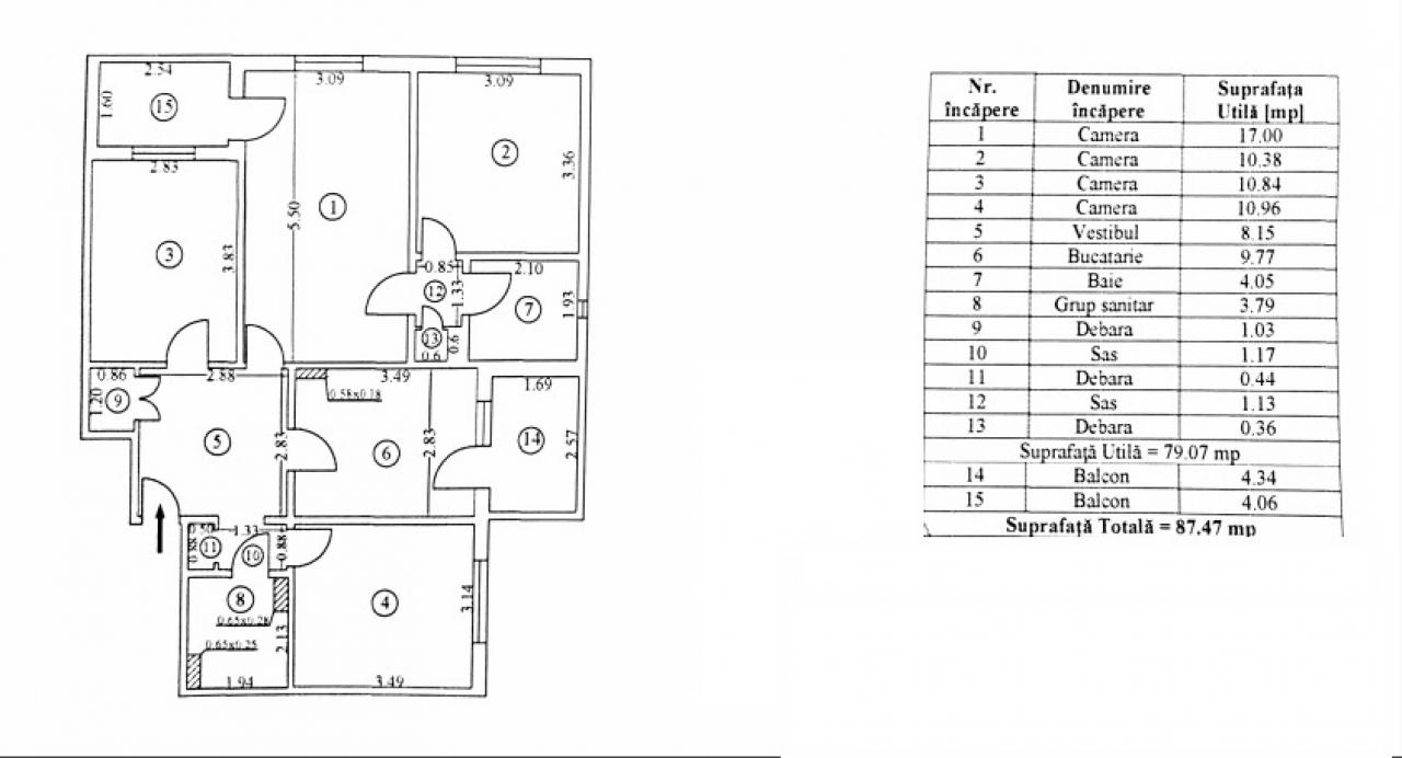 Apartament 4 camere cu centrala zona Veteranilor