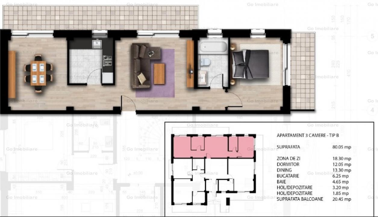 Apartament lux 3 camere langa Trei Sarmale
