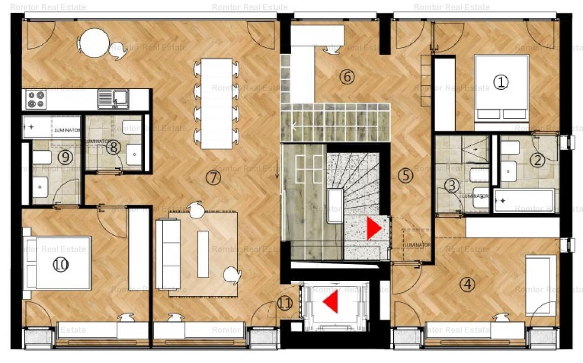 Piata Victoriei Sfintii Voievozi, penthouse , semimobilat, liber