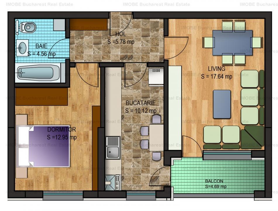 Apartament 2 camere in bloc nou, balcon inchis, Drumul Taberei