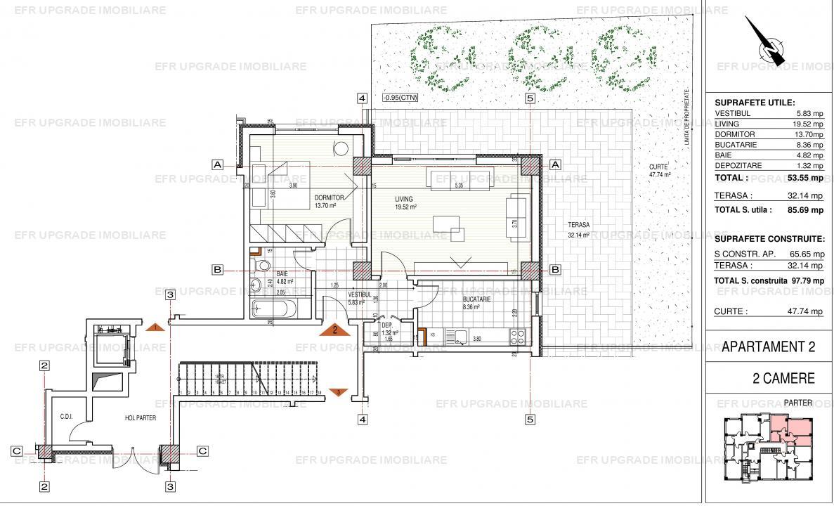 Apartament de vanzare 2 camere cu curte 48 mp - zona Domenii