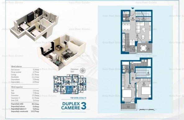 Duplex 3 camere - Aviatiei - Premium