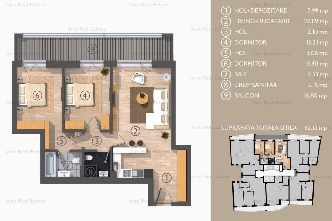 Apartamente 3 camere Piata Spaniei | Bloc Nou | Comision 0%