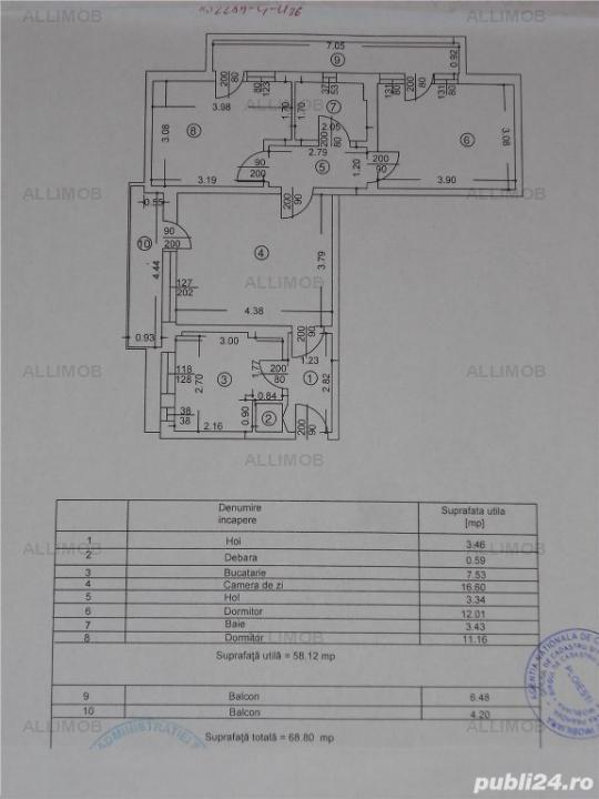 Apartament 3 camere, semidecomandat, mobilat, zona Nord, Ploiesti