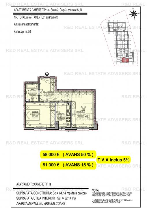 Apartament 2 Camere-NOU-Direct Dezvoltator-Comisin 0!