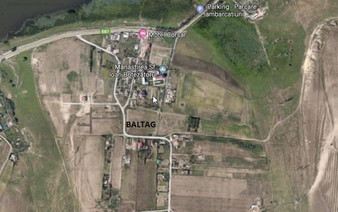 Baltag, teren 2080 mp, deschidere 24 ml, utilitati la 100 m
