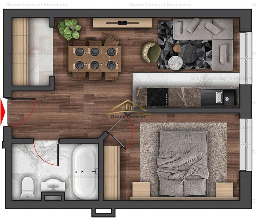 Apartament 2 camere, Copou, 37.15mp