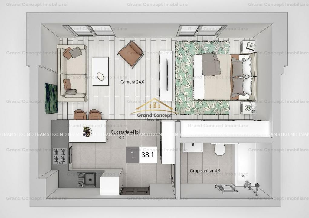 Apartament 1 camera, Tatarasi, 38.10 mp      Cod oferta: 17612