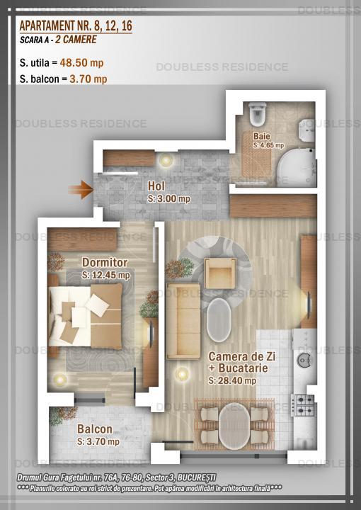 Apartament 2 Camere 55 mp, 59000 euro, TVA INCLUS