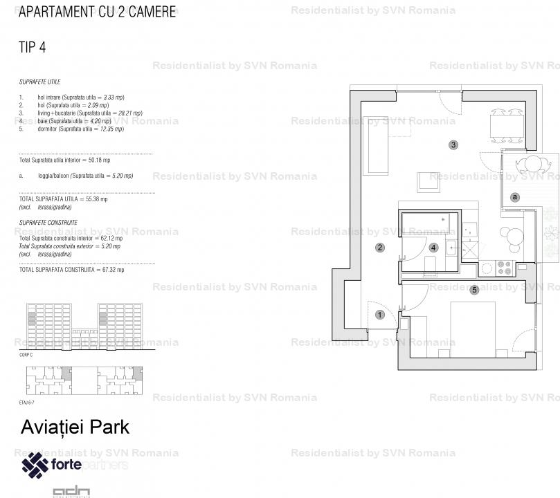 Aviatiei Park II by Forte Partners - 2 camere Tip 4