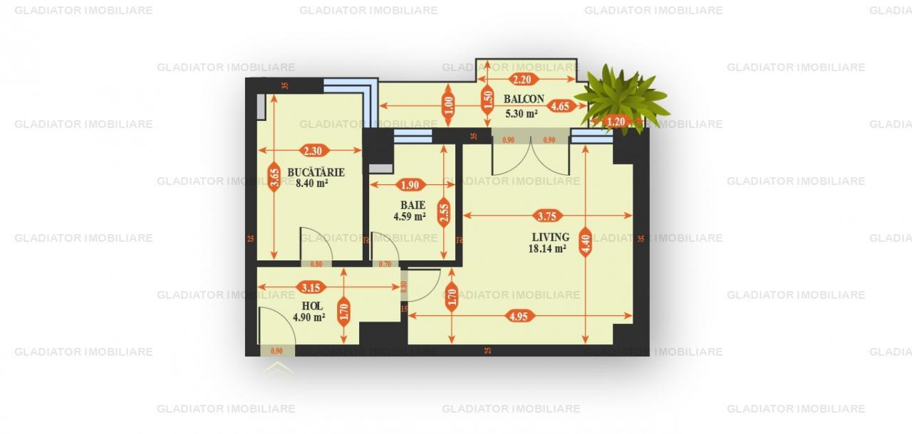 Apartament cu o Camere Bloc Nou Tatarasi, COMISION 0