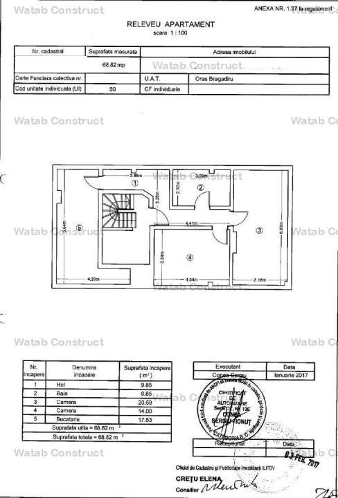 Ap.2cam 69mp utili {penthouse} bloc 2015 Dantelei 41000 euro