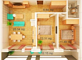 Apartament nou cu 3 camere   Parter inalt   Insorit  