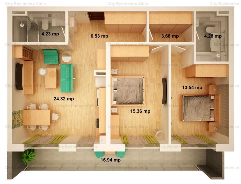 Apartament 3 camere | Arena Village | Parter inalt | Tip 3