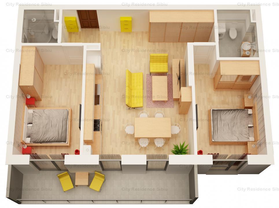 Apartament 3 camere | 63 mp utili + balcon | zona Garii