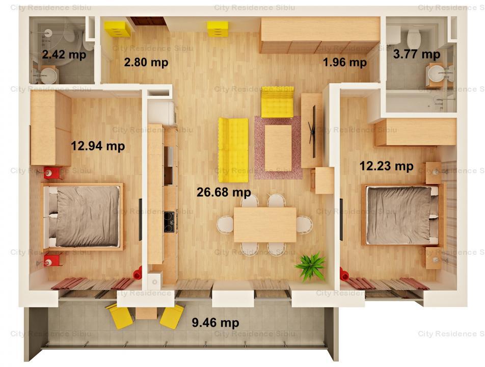 Apartament 3 camere  | 63 mp u  | 9 mp balcon