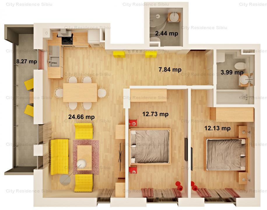 Apartament 3 camere | Imobil cu lift | 63 mp