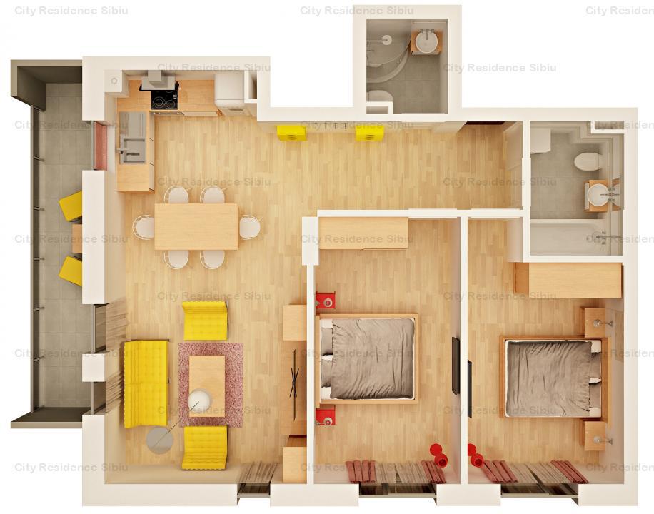 Apartament 3 camere | Etaj 1 | Imobil 12 B