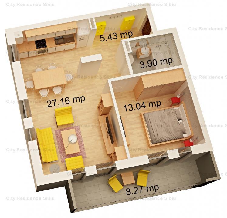Apartament 2 camere | Model tip 3 | Etaj 2