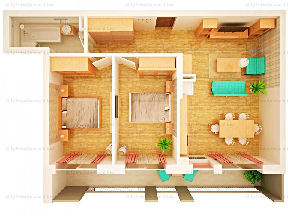 Apartament 3 camere | Parter inalt | 66 mp + balcon