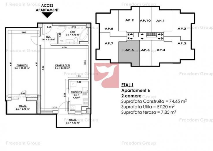 PROMOTIE! Pretul de lista se reduce cu 1500E - 2 camere, TB9 Residence