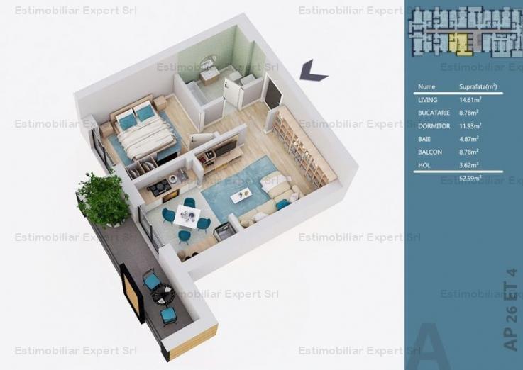 Apartament 2 camere tip Studio Theodor Pallady-Metrou Nicolae Teclu Sector 3