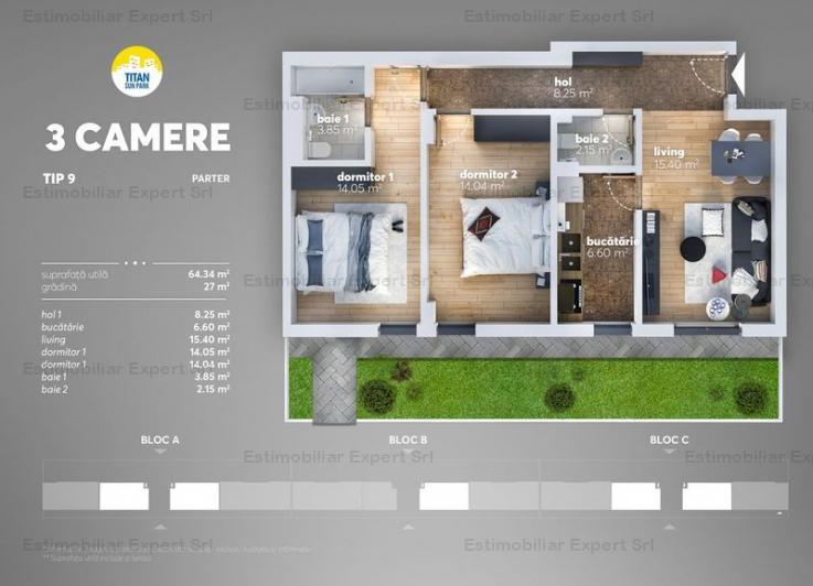 Apartament 3 camere cu gradina-Titan, Metrou Nicolae Teclu