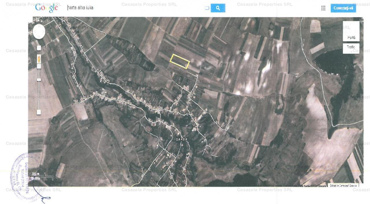 Teren agricol intravilan 5800 mp Oarda de Sus, jud. Alba