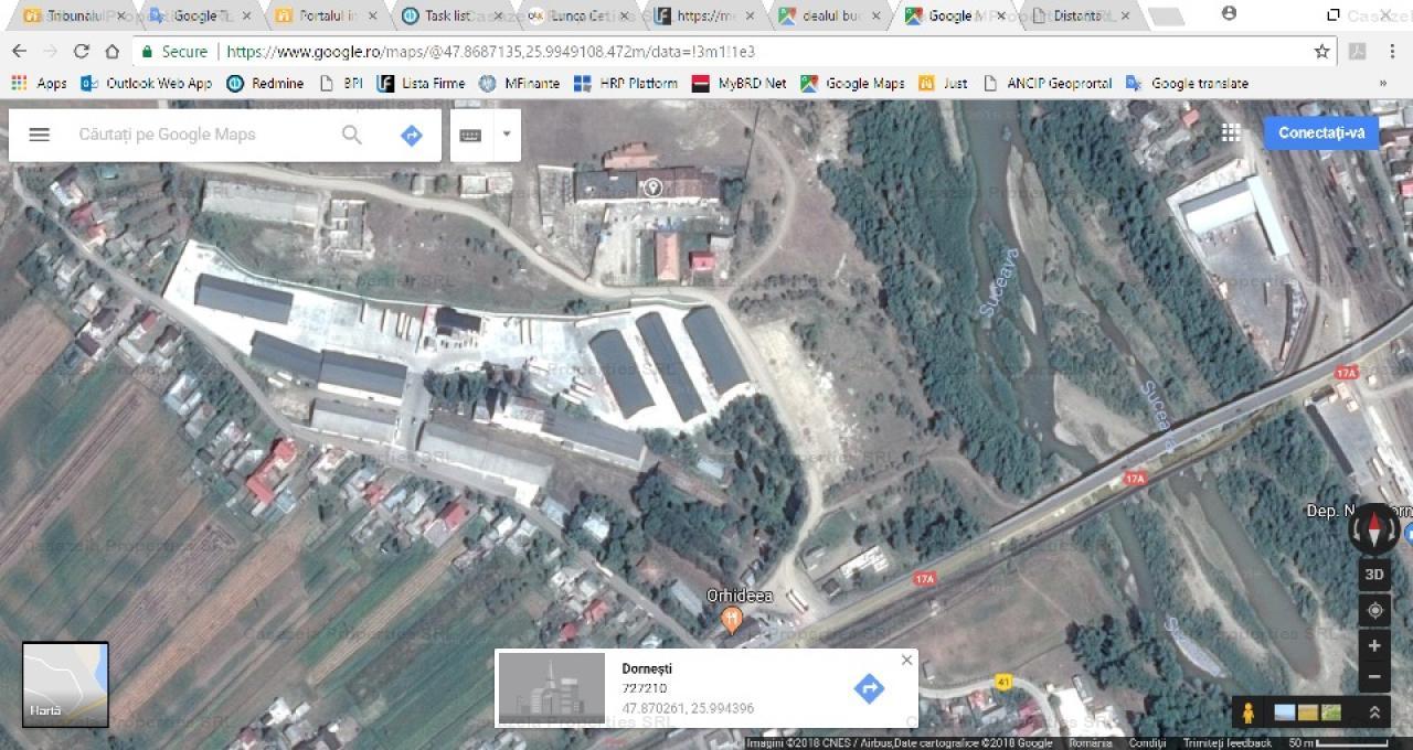 vand 3 depozite in s totala de 1958 mp si teren 8.829 mp in Dornesti langa vama