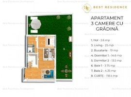 Apartament 4 camere, curte 120 de mp in zona Baneasa