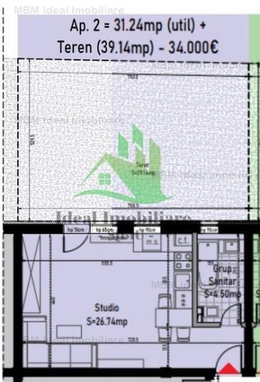 Garsoniera cu gradina de  40 mp in Calea Cisnadiei
