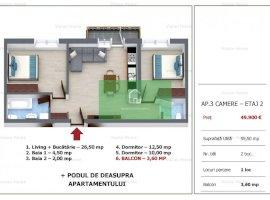 Apartament cu 3 camere, pod,balcon si loc de parcare in Selimbar COMISION 0%